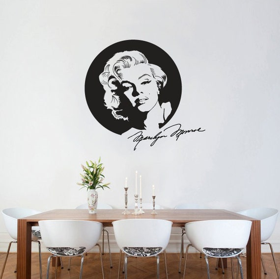 Wall Decal Marilyn Monroe With Signature Wall Sticker Icon Silhouette Wall  Vinyl Part 54