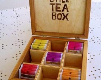 LITTLE TEA BOX-wooden tea Box door 9 compartments-for lovers of cats