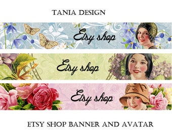 Etsy Shop Banner and Avatar - Multipurpose digital images - Printable Download - Digital Collage Sheets