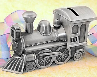 Personalized Pewter Finish Train Bank - Engraved Train Piggy Bank for a Baby Shower Gift