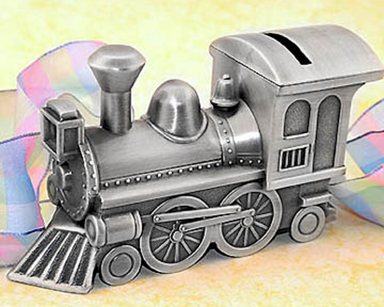 Personalized pewter finish train bank engraved train piggy zoom negle Gallery