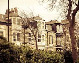 English Town House Photograph, England Landscape, Photo Print, Wall Art, Fine Art Photography, Coffee and Beige, Nursery Decor, Landscape