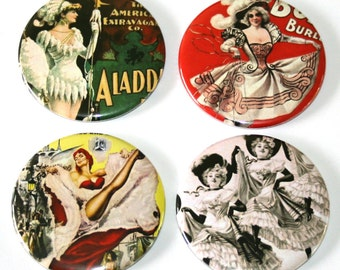 Vintage Burlesque - Large Fridge Magnets - Set of 4