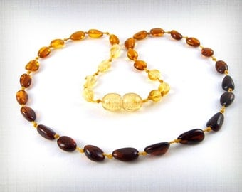 Baltic Amber Baby Teething Necklace Mixed colors Rainbow Beads