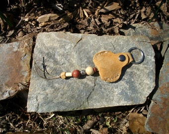 Elk Suede Leather Key Fob Pouch With Beads