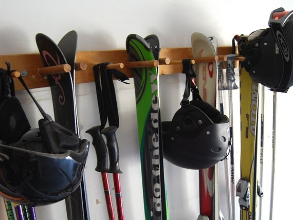Snow Ski Storage Rack, Wall Mount, 4 Skis