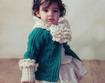 SCARF CROCHET PATTERN Keyhole Scarf Fingerless Gloves Toddler & Girls The Dalia, 2 sizes