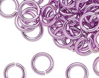 100 10mm Lt. Purple Aluminum Jumprings 14gauge