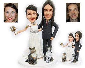 Personalised wedding cake topper  - My lovely kitties (Free shipping)