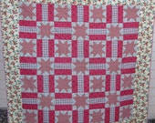 Red Cherries & Stars Queen Quilt sewn by Carolyn Jung, Bennett, CO