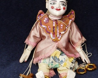 Cute Old Burmese String PUPPET MARIONETTE Hand MADE