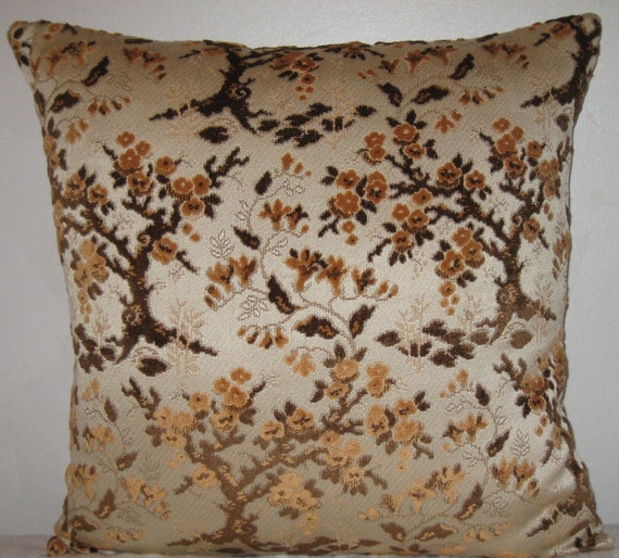 Brown Chenille Throw Pillows : Chenille Floral pattern decorative pillow