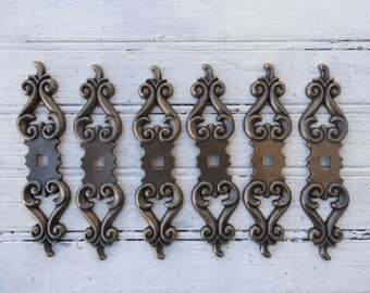 """Set of 6 New Antique Finish 4-7/8"""" Backplates for Knobs (JA1184)"""