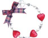Jewel Heart Bracelet Ruby on Cameron Tartan Ribbon