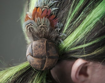 Vintage Leather button & feather hair elastic