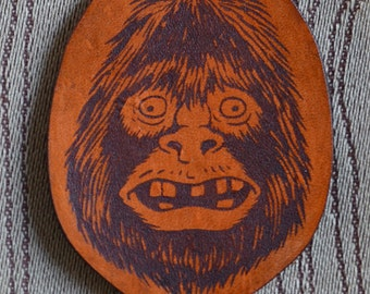 Woolybooger Portrait Bigfoot key fob. Leather Keychain