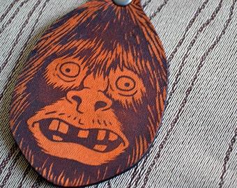 Woolybooger Bigfoot key fob. Leather Keychain