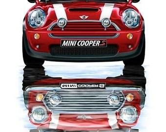 Mini Cooper Old and New Print