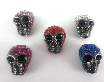 10 pcs gun metal plating with clear rhinestone