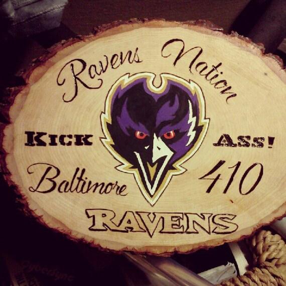 Ravens Nation Baltimore Ravens Football Team Plaque Plank Wood Burning Pyrography