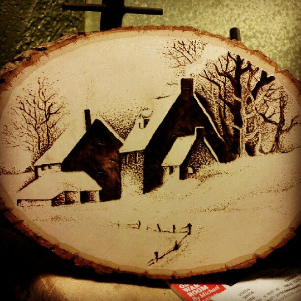 Winter Farm House Pyrography Wood Burning by ...