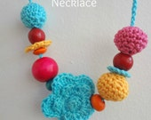 The Señorita Necklace #1 -Crocheted Baby Necklace,nursing necklace,little girls' jewelry, children's necklace,pink,orange,red,turquoise