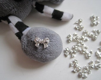 MD-99 5pcs Fancy Metal Charms Crystal Rhinestone Silver Bow Charms Nail Art Decoration Cellphone Decoration