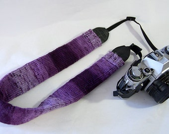 Purple Knit Camera Strap Cover, Boho Camera Strap Cover