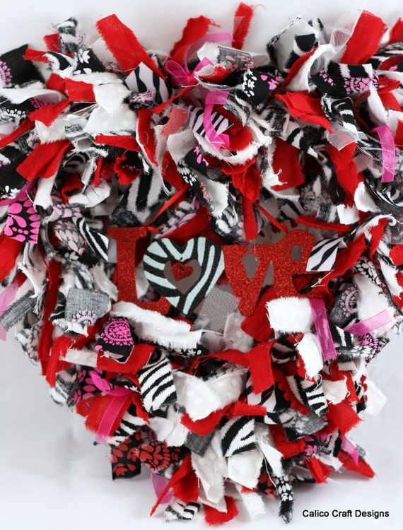 Red & Zebra Print, Love, Heart-Shaped Fabric Rag Wreath for Valentine's Day