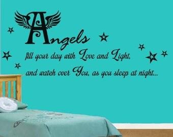 Angels Nursery Quote Vinyl Wall Art Sticker Decal, Kids Bedroom