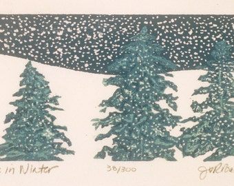 "Pines in Winter 3"" x 5""  woodcut"