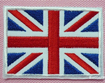 UK UNION JACK United Kingdom Great Britain Flag Embroidered Applique Sewing Iron on Patch