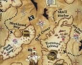 Timeless Treasures Stoff Schatzkarte braun Deko  Piratenkarte 0,5 m reine Baumwolle