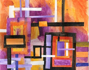 Original Painting, Orange & Purple on Cut Paper / WI1208