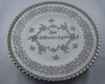 20% OFF: 20s. Collector plate to silver wedding. Porcelain. Porcelain painting Leni Parbus. Silver decor. Collectible. VINTAGE