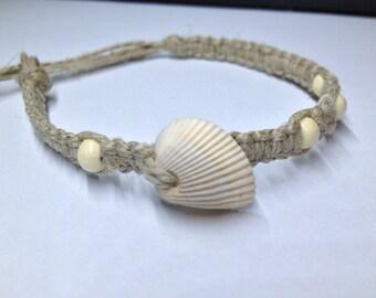 Beaded, Shell, Hemp Bracelet