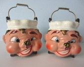 Vintage Salt & Pepper Shakers - Anthropomorphic Kettles with Flies