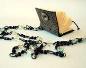 MINI BOOK NECKLACE , long chain pendant , handmade minibook , notebook , Easter necklace