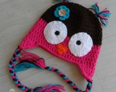 Crochet Owl Earflap Beanie / Hat / Cap for Baby / Child / Photo Prop - Acrylic & unique wooden button - Custom Handmade - MeysMadeCoolCrochet