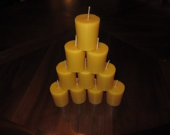 100% Pure Beeswax Votive Candles in Bulk of 18