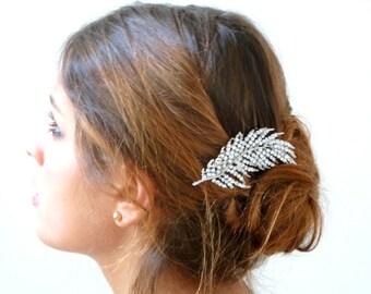 Rhinestone Hair comb ,Bridal Rhinestone Hair comb ,Feather rhinestone Hair comb , Leaf Hair Comb Fascinator,Bridal Hair Jewelry
