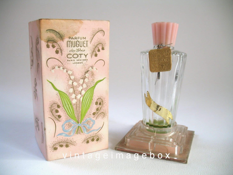 coty muguet des bois perfume bottle boxed by vintageimagebox. Black Bedroom Furniture Sets. Home Design Ideas