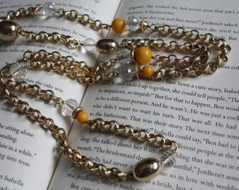 Yellow and Gold Long Chain Necklace/Bracelet
