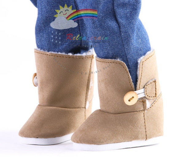 "Faux Suede Fur Lining Winter Button Snow Boots Doll Shoes Tan for 18"" American Girl dolls"