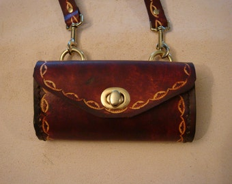 Tara Tooled Brown Leather Crossbody Bag - Small Purse - Handbag - Large/Small Crescent