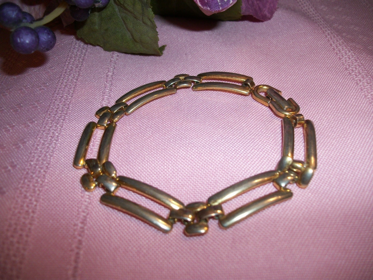 s bracelet signed monet jewelry gold metal panther