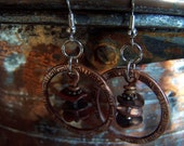Copper Mixed Metal Hoop Earrings
