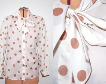 Vintage 1970s Collar Tie Neck Button Up Secretary Blouse Polka Dot Spotted Gold White. Size Small / Medium.