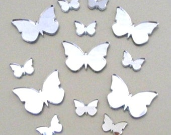 Butterfly Big Wings Mirrors Pack of 13, Five 6cm x 3cm & Eight 4cm x 2cm