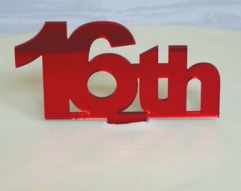 Age Cake Toppers, 1st to 110th in Red Mirror 10cm (6cm Number, 4cm Spike)